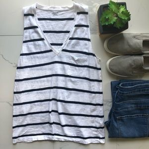 Madewell Blue And White Striped V Neck Tank Top